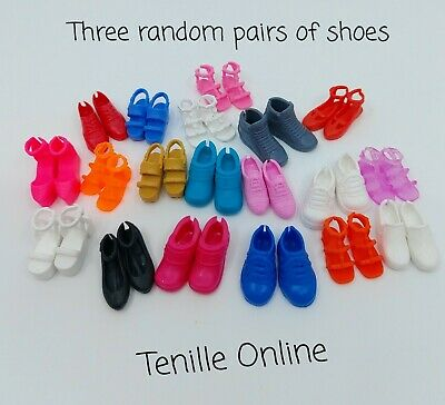 New Barbie flat foot shoes x3 pairs clothes outfit