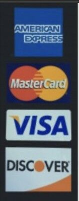CREDIT CARD LOGO STICKER - Visa, MasterCard, Discover and American Express 2 Qty