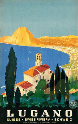 "24x36 Art 1940s ""Lugano Southern Switzerland"" Vintage Style Swiss Travel Poster"
