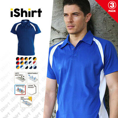 3Pc X Mens Polo Shirt Polyester Outer Face Cotton Backing Contrast Panel Polo