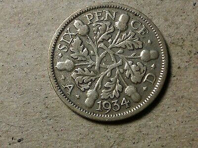 Great Britain 6 pence sixpence 1934 George V Wedding coin gift silver