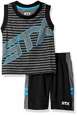 STX Big Boys' 2 Piece Performance Tank and Short Set, Si_Turquoise, 12