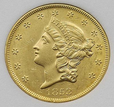 $20 Dollars USA 1853 Gold Liberty Head Double Eagle KM #74.1