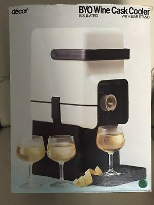 DECOR INSULATED BYO WINE CASK COOLER with BAR STAND ~ BURGUNDY ~ NEAR NEW in BOX