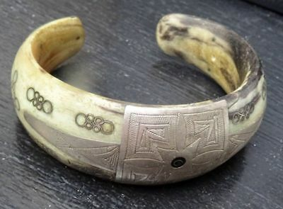 Antique Medieval Viking Decorated Silver And Bone Bracelet From Russia