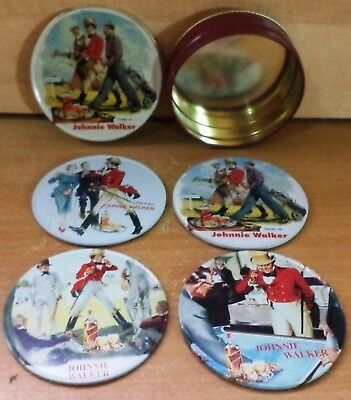 Vhtf Johnnie Walker Scotch Whisky Set Of Four Coasters In Tin Box