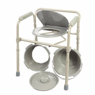 Toilet Chair Folding Bedside Commode Seat with Commode Bucket and Splash Guard