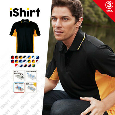 3Pc X Mens Polo Shirt 100% Polyester Cool Dry Breathable Panel With Piping Polo