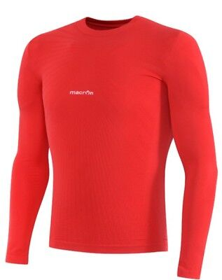 Macron Mens Long Sleeve Beta Baselayer Compression Top M Xl 3Xl Red New