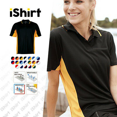 Ladies Polo Shirt 100% Polyester Cool Dry Breathable Panel With Piping Polo