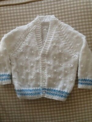 Babies Hand Knitted Cardigan To Fit Birth To 3 Months.In Soft White Wool