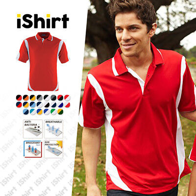 Mens Polo Shirt 100% Polyester Cool Dry Breathable Contrast Sports Polo