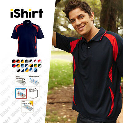 Mens Polo Shirt 100% Polyester Cool Dry Breathable Active Sports Polo