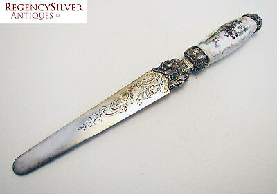 Rare Antique PORCELAIN Silver Plate FRENCH Paper Knife Letter Opener Page Turner