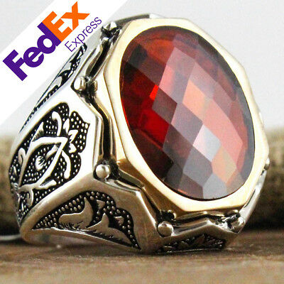 TURKISH Ottoman 925 Sterling Silver Ruby Faceted Men's Luxury Ring All Sizes