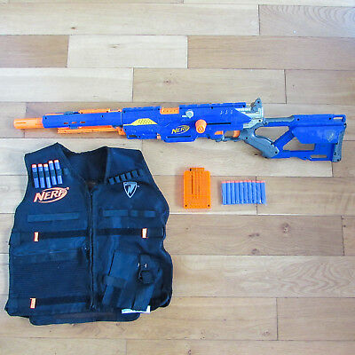 Nerf Longstrike CS-6 sniper rifle + original tactictal nerf vest + New Darts