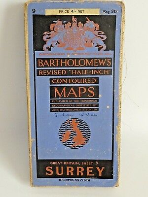 Vintage Bartholomew Half Inch Map of Surrey inc London Sheet 30 - Cloth Mounted