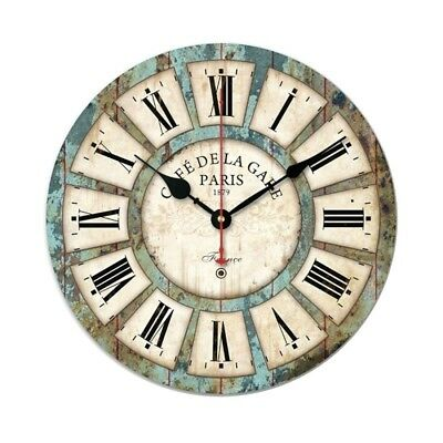 14 Inch Vintage Rustic Country Tuscan Style Silent Wooden Wall Clock Home Decor