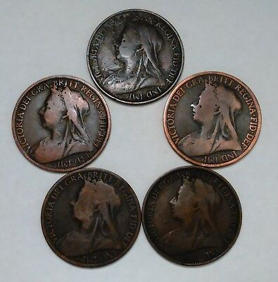 Lot Of 5 Great Britain 1 Penny Coins