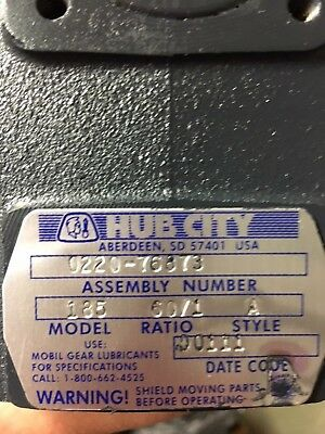HUB CITY GEARBOX SPEED REDUCER 0220-76873 Ratio 60:1 NIB Item #80