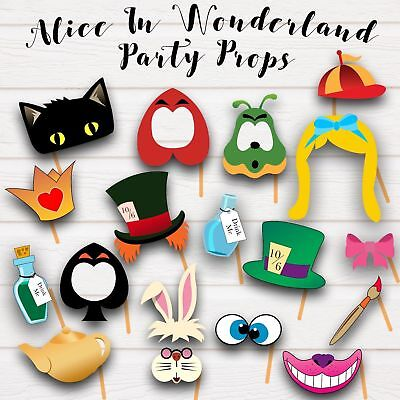 Alice In Wonderland Photo Booth Party Props - Pdf & Jpeg - Printable !!!