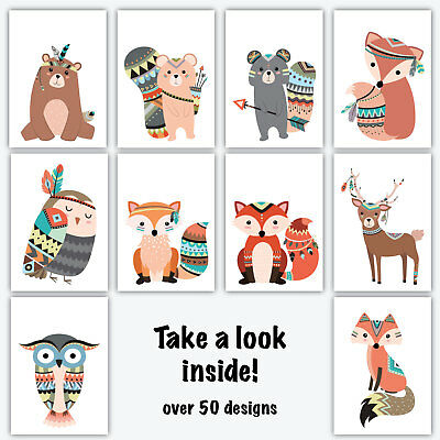 Art Print TRIBAL FOREST ANIMAL Wall Decor Poster Nursery Quotes