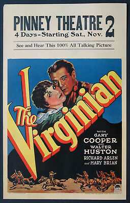 GARY COOPER in the VIRGINIAN movie poster victor fleming 1929 24X36 WESTERN