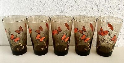 Set 5 Butterfly Drinking Glasses Highball Tumblers Vtg Mid Century Libbey Glass