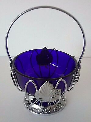 Ornate Chrome Plated Cobalt Blue Glass Insert Handled Salt Cellar/Jelly Basket