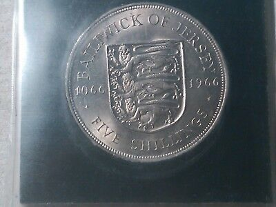 1966 Jersey 5 Shillings Bailiwick of Jersey Norman Conquest Crown  packed