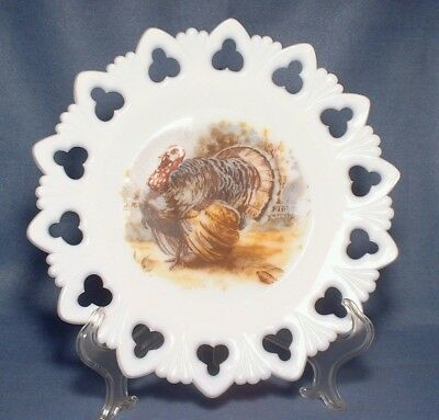 Vintage Milk Glass Plate with Turkey Club and Shell Border Kemple Glass 9 1/2""