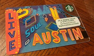 NEW! 2016 Starbucks Austin Texas City Gift Card Red Blue Signs Music Fest SXSW