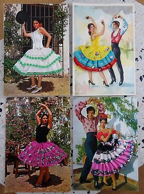 Lot of 4 Vintage Spanish Dancer Postcards with Real Fabric Dresses