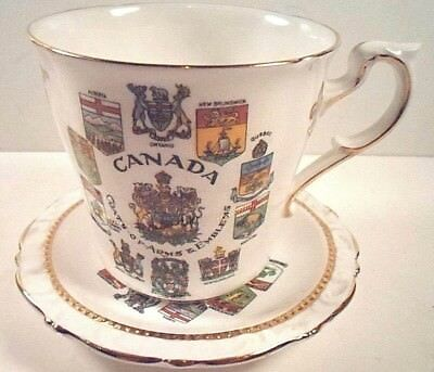 Canada Coats Of Arms Emblems Majesty The Queen Paragon Tea Cup & Saucer England