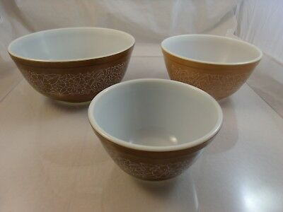 Lot of 3 Pyrex Mixing Nesting Bowls - Woodland Brown - #403 & #402 & #401 Used