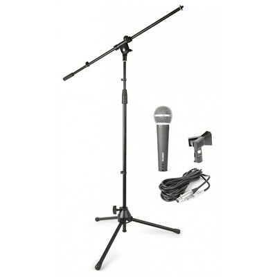 Skytec MS-KIT Microphone and Mic Stand Pack Microphone Mic Boom Stand XLR - J...