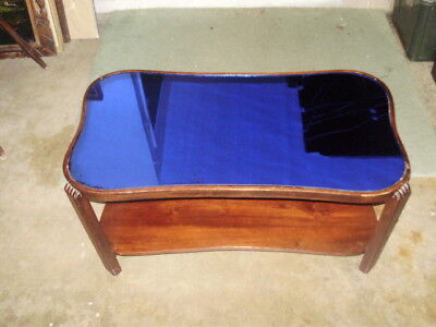 Vintage Art Deco Wood Coffee Table With Cobalt Blue Mirrored Glass Top