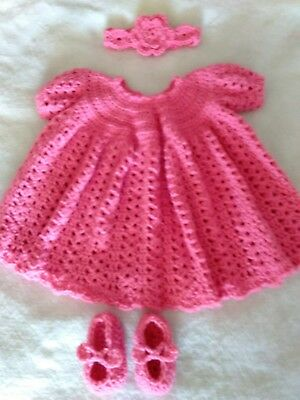 682371f910a5c NEW HANDMADE CROCHET Baby Clothes Lot Dress booties and headband set 0 - 3  month