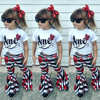 Toddler Kids Baby Girl Striped Flower Bell-Bottoms Pants Leggings Pants US Stock