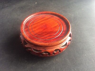 """Vintage 3"""" Chinese Oriental Carved  Wooden Vase - Bowl - Stand for 2.5"""" base"""