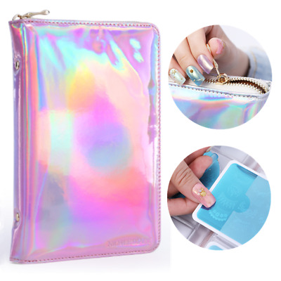 NICOLE DIARY 72 Slots Pink Holographic Stamping Plate Case Holder Nail Art Tool