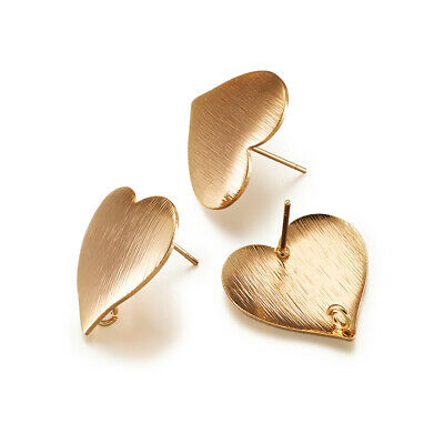 30pcs Gold Filled Electroplate Brass Flat Earring Posts Heart Unfading Stud 19mm