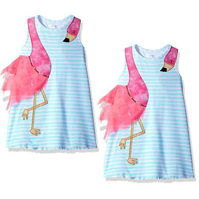 USA Summer Kids Baby Girls Animals Floral Casual Party Dress Sundress Princess