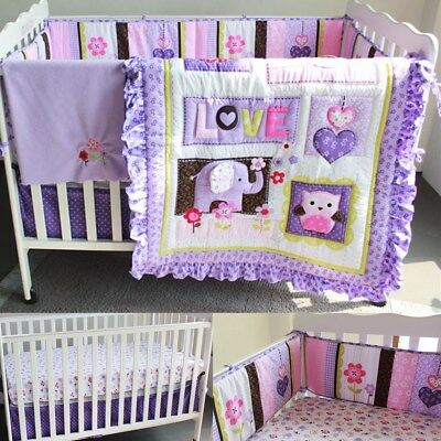 AU Baby 8pcs Nursery Bedding Set Girls Purple Elephant Crib Cot Quilt Bumper New