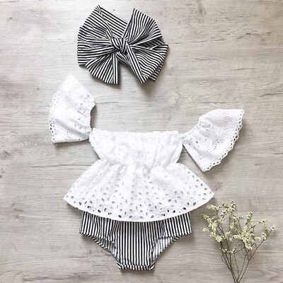 USA Toddler Baby Girl Lace Off Shoulder Top Stripe Shorts 3Pcs Outfits Sunsuit