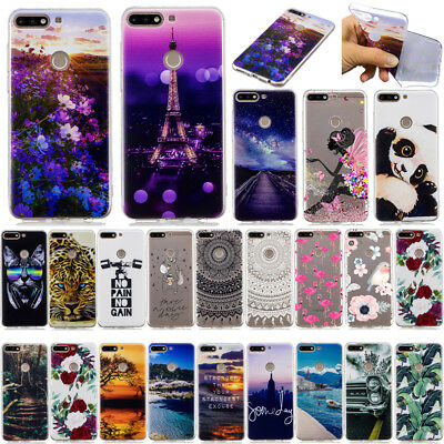 For Huawei Y9 Y7 Pro Y6 Prime 2018 Slim Soft Silicone Painted Back Case Cover