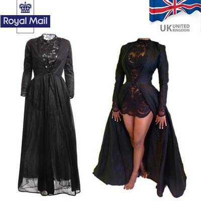 Women Gothic Lace High Waist Sheer Jacket Long Dress Gown Party Costume Black