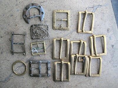 Vintage Lot 13 Solid Brass 1970s Belt Buckles