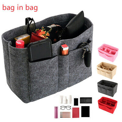 Felt Insert Bag Multi Pockets Handbag Purse Organizer Holder Makeup Travel AU