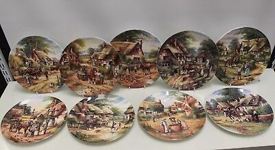"""9x Wedgwood """"Country Days"""" pattern Decorative Plates, Consecutive Nos 43.1-43.9"""